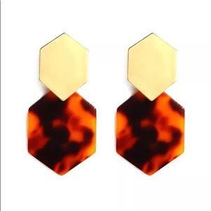 Metal Acrylic Geo Hexagon Earrings Gold Tortoise